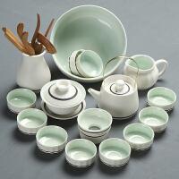 茶壶盖碗茶海茶杯茶洗茶道家用雪白青瓷陶瓷茶具套装整套功夫茶具