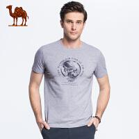 骆驼男装 2018夏季新款时尚男士青年休闲棉质印花圆领短袖T恤