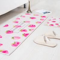 水果创意长条地垫门垫厨房进门脚垫浴室沙发茶几地毯卧室床边垫子 奶油草莓 地垫 45*180cm 1条 地垫