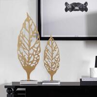 美式北欧创意金属叶子摆件 欧式家居客厅玄关办公室酒店装饰品