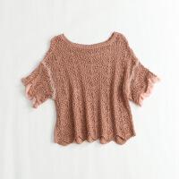 短袖宽松毛衣蕾丝拼接套头衫毛线衣22