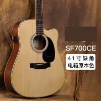 ?吉他SF700C初学者民谣面单单板41寸电箱民谣木吉他指弹?