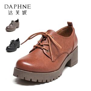 Daphne/达芙妮 秋英伦学院风复古鞋圆头粗跟系带单鞋女