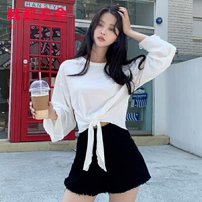 【1件3折69元】韩都衣舍2019秋装新款韩版喇叭袖纯色打底长袖T恤女NF11873玎