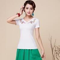 民族�L女�b上衣短袖V�I�@瘦�C花中���L夏季新款半袖T恤衫 白色 前包扣�C花上衣
