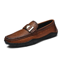 新款鳄鱼纹低帮休闲鞋青少年透气皮鞋韩版潮流男士豆豆鞋男约会鞋