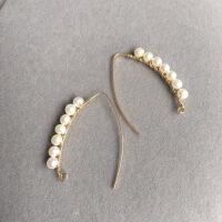 天然强光小珍珠手工绕线编织耳环14k包金注金防过敏保色