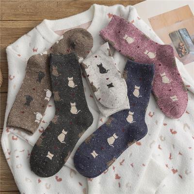 中长袜子女中筒袜ins潮日系可爱秋冬款羊毛加厚保暖冬季韩国长筒