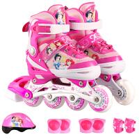 迪士尼(Disney)SD11013-P-S粉色  溜冰鞋儿童套装男女轮滑鞋可调闪光旱冰鞋 粉色公主(含护具头盔)S码(29-33码) 当当自营