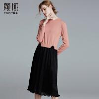 颜域品牌女装毛衣裙2017冬装新款中长款两件针织拼接蕾丝连衣裙冬