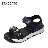 STACCATO/思加图夏季专柜同款摔纹金属牛皮女皮凉鞋F6101BL6