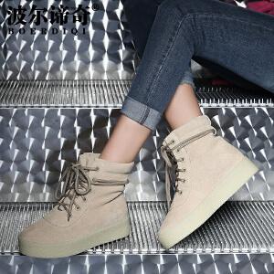波尔谛奇秋冬新品磨砂牛皮平底系带短靴加绒雪地靴保暖棉靴13019