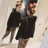 秋冬季韩版女装大码短款打底上衣长袖连帽卫衣女套头宽松毛呢外套