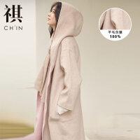 【1件3折到手价:373.5】CHIN祺双面羊毛大衣女中长款秋装新款赫本风呢子过膝毛呢外套