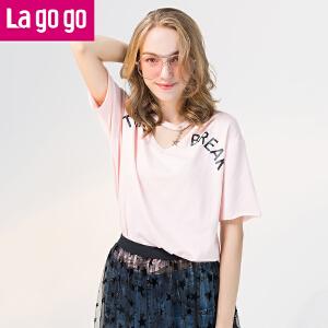 Lagogo2017夏季新款宽松V领字母印花T恤镂空上衣女短袖