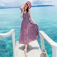2018女无袖条纹吊带雪纺连衣裙波西米亚海边度假沙滩裙