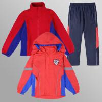 中小学生班服秋冬装儿童校服冲锋衣加绒加厚套装防风保暖红绿蓝色