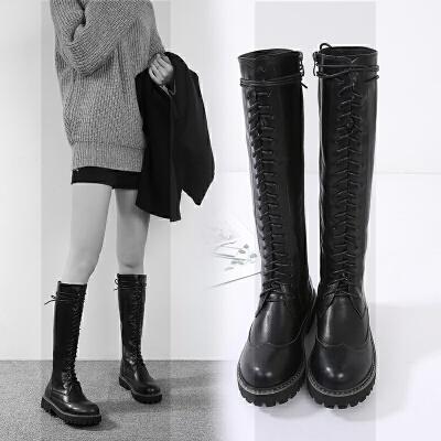 秋冬真皮骑士长靴子系带平底高筒靴厚底长筒马丁靴及膝靴中筒女靴SN8328 黑色 加绒