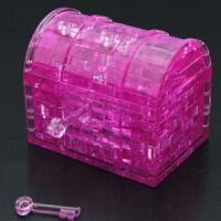 宝箱立体拼图 3d立体 diy创意礼品生日礼物水晶立体拼图玩具 粉色宝箱