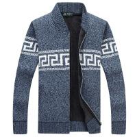 战地吉普冬季男士毛衣外套加厚加绒宽松毛线衣男休闲青年针织衫男开衫立领