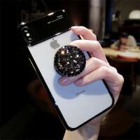 新款苹果x手机壳水钻iPhone7plus透明8支架xr网红个性xs女max潮牌 iPhone X/XS (5.8)黑