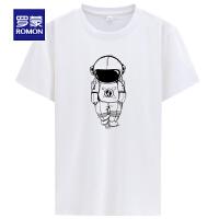 【2折预估到手价:44叠券更优惠】罗蒙男士圆领短袖T恤衫夏季薄款时尚休闲男装打底衫印花