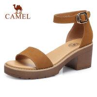 camel 骆驼女鞋2018夏新款防水台粗跟凉鞋包跟学生韩版百搭罗马休闲鞋子