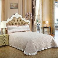 欧式 棉床盖三件套夹棉绗缝被单件纯棉床单纯色床罩铺盖防尘罩