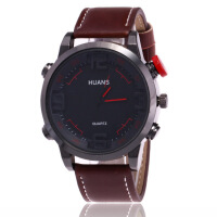 潮流时尚运动男士皮带手表 商务休闲阿拉伯数字石英手表