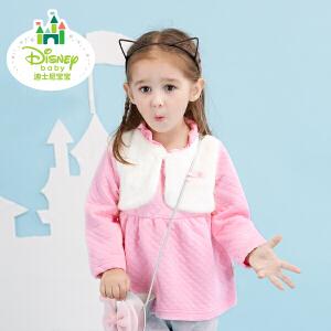迪士尼Disney童装女童外套春秋新款假两件宝宝长袖保暖上衣173S932