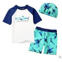 鲨鱼图案泳装泳帽套装儿童泳衣男童分体游泳衣宝宝平角速干防晒小童婴儿