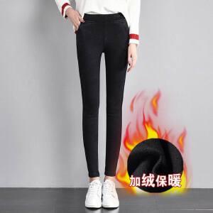 冬季新款高腰加绒打底裤外穿仿牛仔黑色小脚裤女弹力铅笔裤子