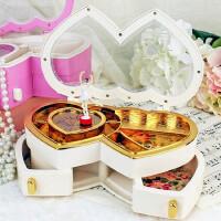粉色心形音乐盒跳舞旋转女孩透明爱心翻盖首饰八音盒生日结婚礼物