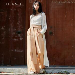 [AMII东方极简] JII AMII2018夏装新款帅气宽松阔腿系带棉质显高休闲长裤61887037