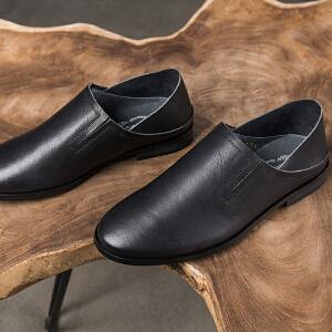 玛菲玛图春季单鞋女平底懒人鞋复古英伦女鞋2018新款简约小方跟牛皮平底鞋M19811001T5