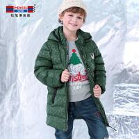 铅笔俱乐部童装2018冬季新款男童加厚棉衣中大童儿童连帽外套