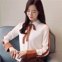 长袖雪纺衬衫女2018春季新款百搭通勤职业系带打底衬衣 白色