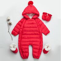 儿童婴儿羽绒服连体衣连脚冬季婴幼儿轻薄白鸭绒婴儿连体羽绒服