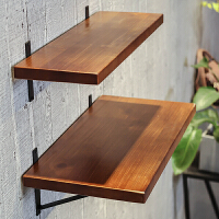 墙上置物架实木一字隔板复古壁挂搁板铁艺墙面装饰书架厨房收纳架