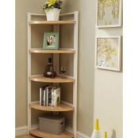 简易墙角置物架客厅花架落地转角钢木书架隔板多层卧室角落装饰架