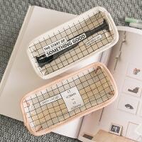 韩国简约透明铅笔袋女高中生韩版文具袋创意可爱小清新学生文具盒