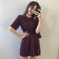 韩版时尚休闲套装夏装女装修身短袖亮点T恤上衣+A字裙短裙两件套 均码
