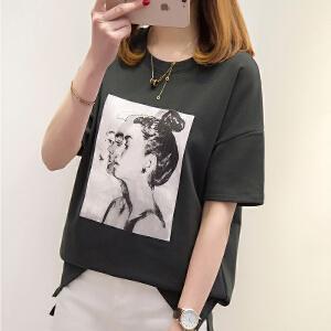 少女2018春夏季宽松短袖T恤高中学生韩版新款bf风百搭印花上衣潮