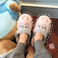 冬季新款韩版可爱卡通小河马毛绒保暖拖鞋软妹女居家卧室地板棉拖