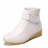 护士鞋棉鞋白色护士鞋冬季棉鞋坡跟牛筋底加绒短靴女防滑保暖休闲医院工作鞋srr 白色送棉垫袜子