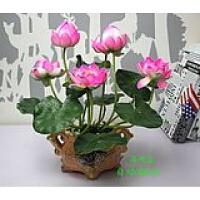 仿真荷花莲花供佛用花 塑料假花绢花 家居装饰花摆件 粉红色 +盆