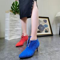 18春季新款尖头蝴蝶结糖果色婚鞋小跟鞋高跟鞋及踝靴马丁靴女鞋潮