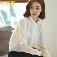 白色雪纺衫衬衫女长袖韩范显瘦OL雪纺上衣时尚洋气小衫女2020新款