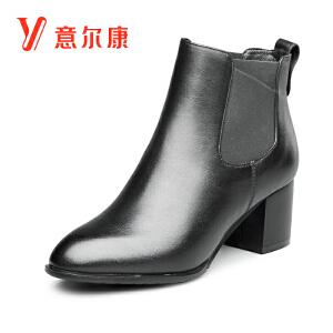 意尔康2018秋冬新款女鞋粗跟尖头切尔西靴短靴