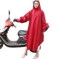男女有袖电动车摩托车透明大帽檐带袖雨衣雨披 XXXL